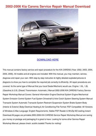 2002 2006 kia carens service repair manual do by deborahcarrion issuu rh issuu com 2018 Kia Carens Kia Carens 2008