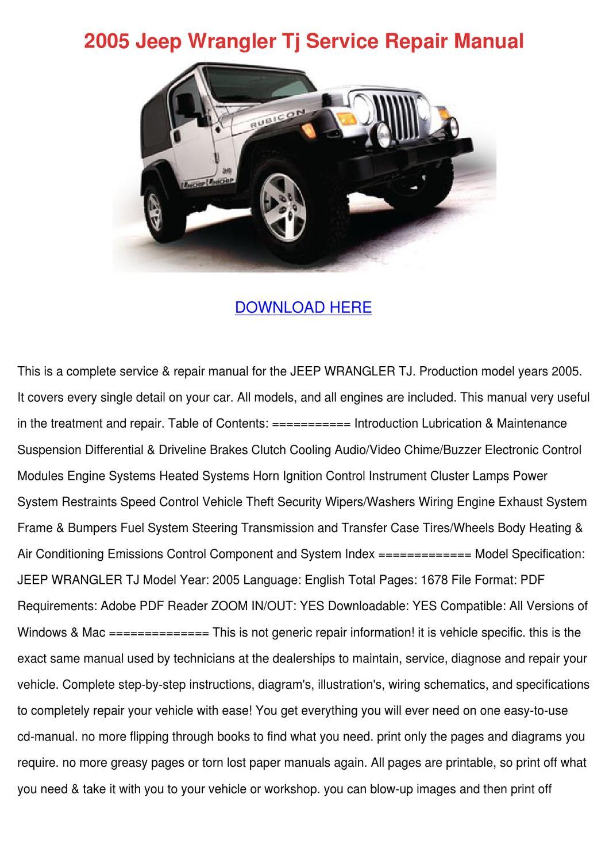 2005 Jeep Wrangler Tj Service Repair Manual by DeborahCarrion - issuu