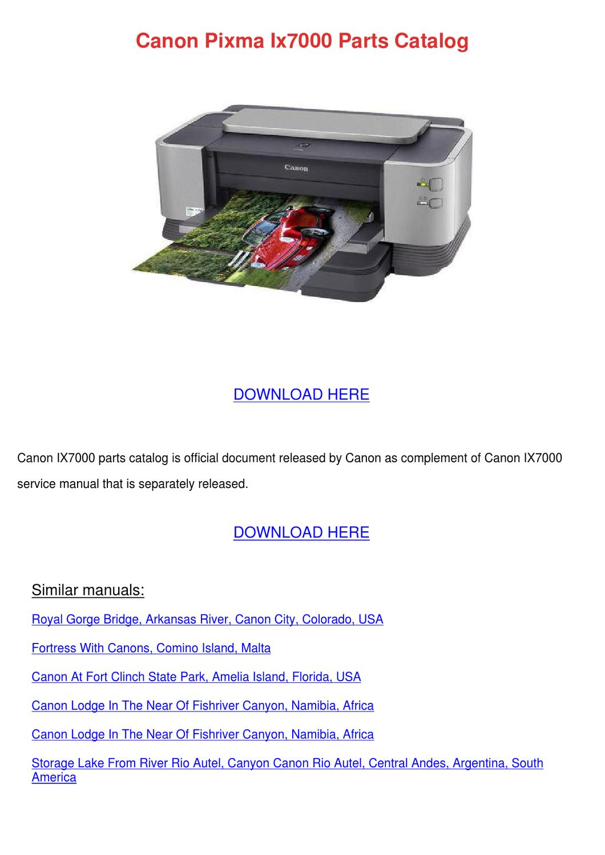 Canon Pixma Ix7000 Parts Catalog by DeborahCarrion - issuu