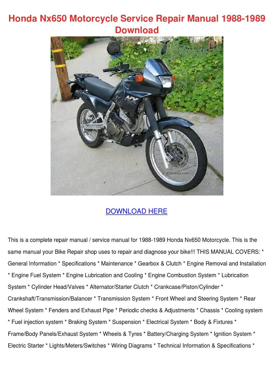 honda nx650 motorcycle service repair manual by. Black Bedroom Furniture Sets. Home Design Ideas