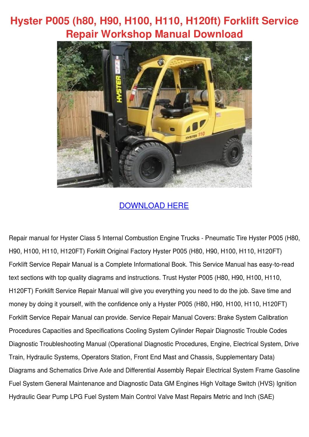 hyster electric forklift fault codes
