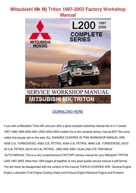 mitsubishi mk mj triton 1997 2003 factory wor by rosettareedy issuu rh issuu com Repair Manuals Parts Manual