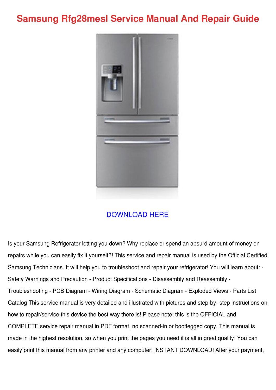 Samsung Rfg28mesl Service Manual And Repair G by InaGarnett - issuu