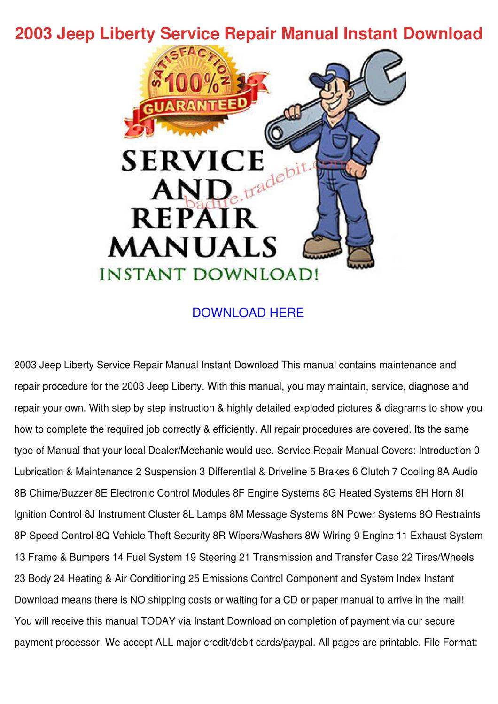 2003 Jeep Liberty Service Repair Manual Insta by SebastianPinson ...