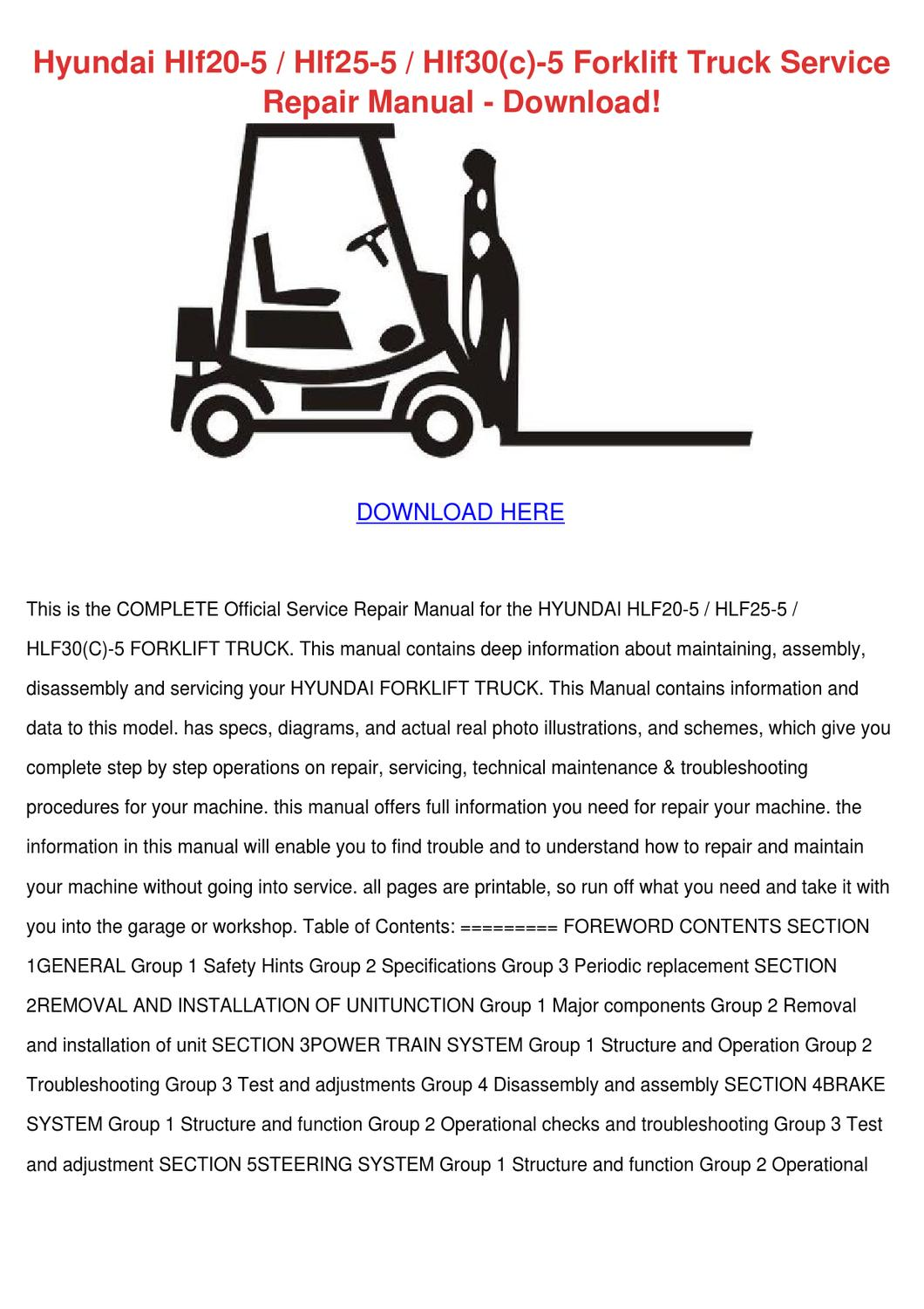 Hyundai Hlf20 5 Hlf25 Hlf30c Forklift Tru By Myrtlemontemayor Santro Wiring Diagram Pdf Issuu