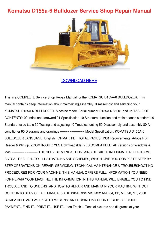 Komatsu D155a 6 Bulldozer Service Shop Repair by MyrtleMontemayor - issuu