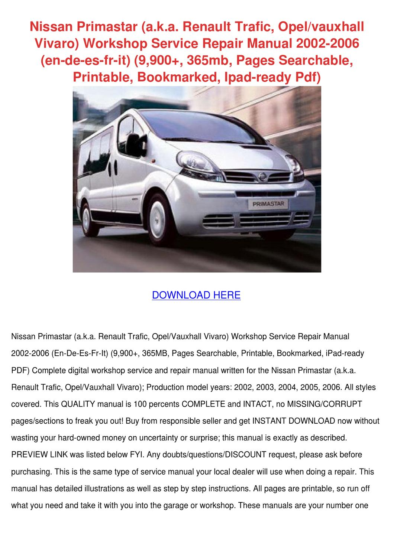 Nissan Primastar Wiring Diagram Free Download Will 1994 240sx Aka Renault Trafic Opelvauxh By Monikamoon Issuu Rh Com 2002 Sentra Engine