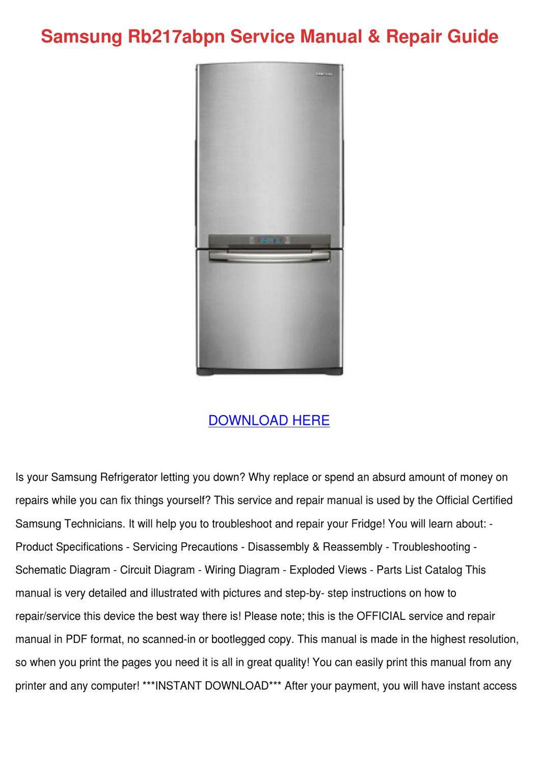 Samsung Rb217abpn Service Manual Repair Guide by SterlingSavoy - issuu