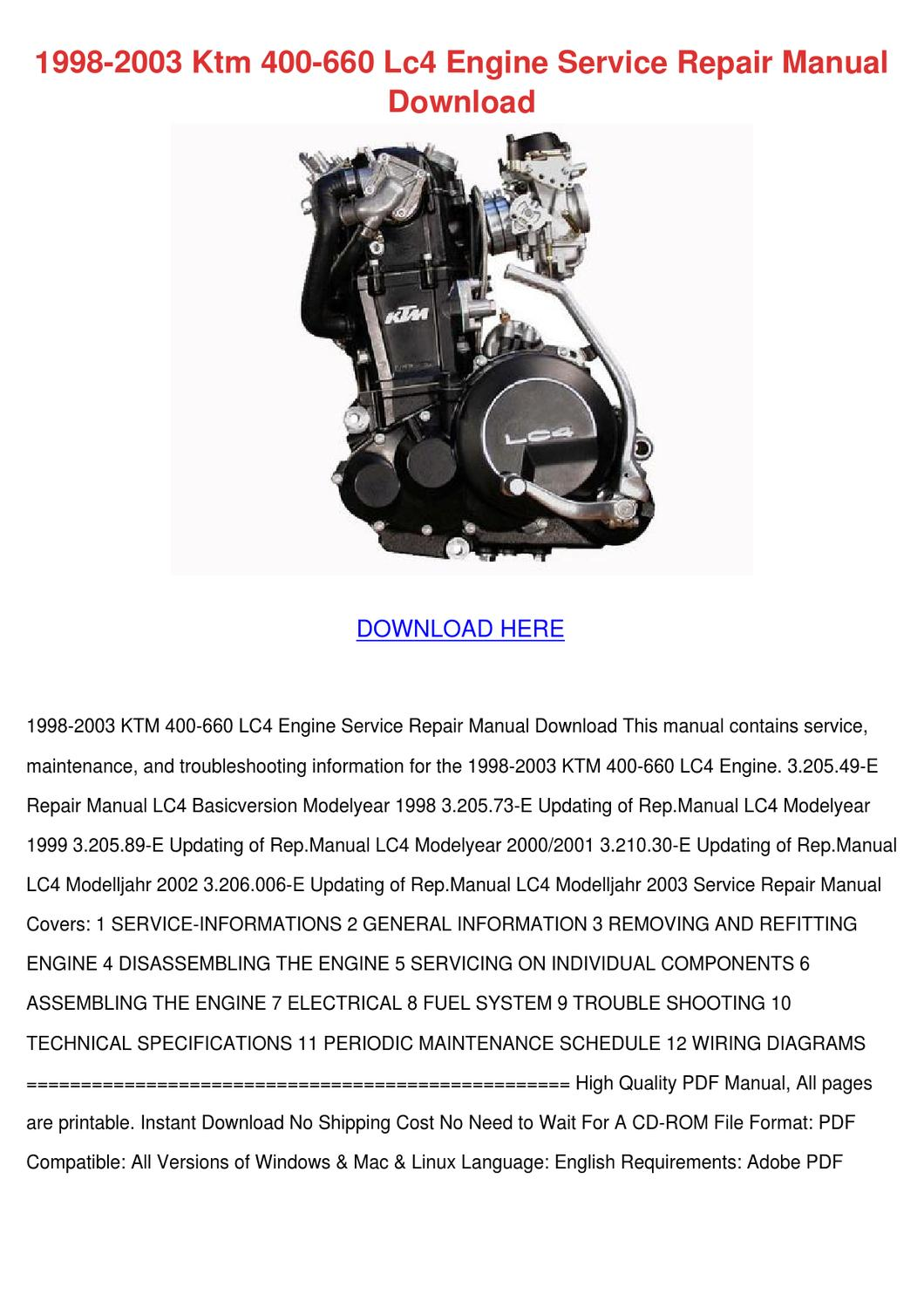 1998 2003 Ktm 400 660 Lc4 Engine Service Repa By Kimheim Issuu Wiring Diagrams