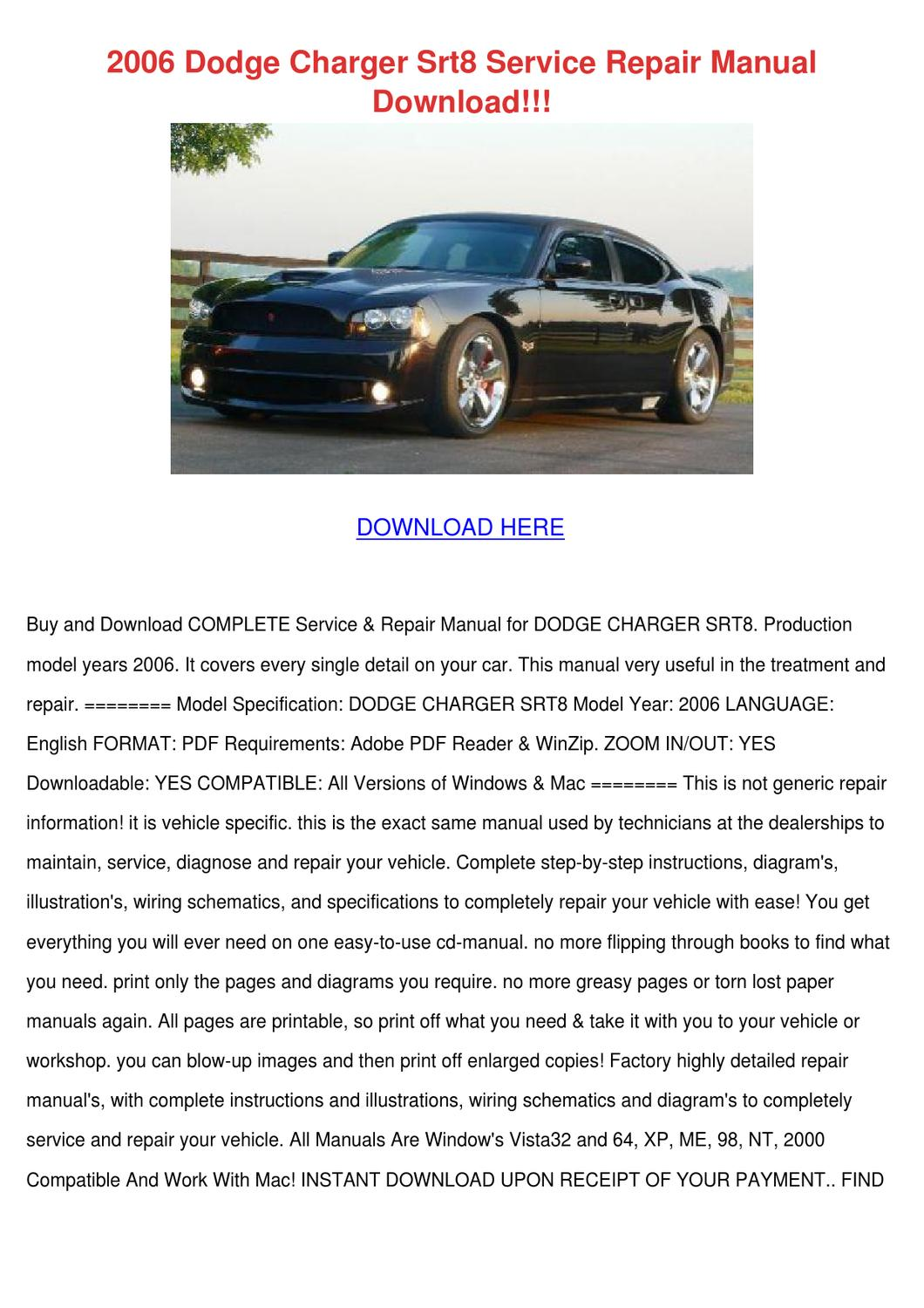 2006 Dodge Charger Srt8 Service Repair Manual By Kimheim