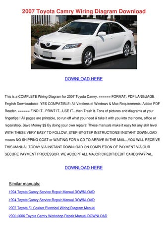 page 1  2007 toyota camry wiring diagram download  download here