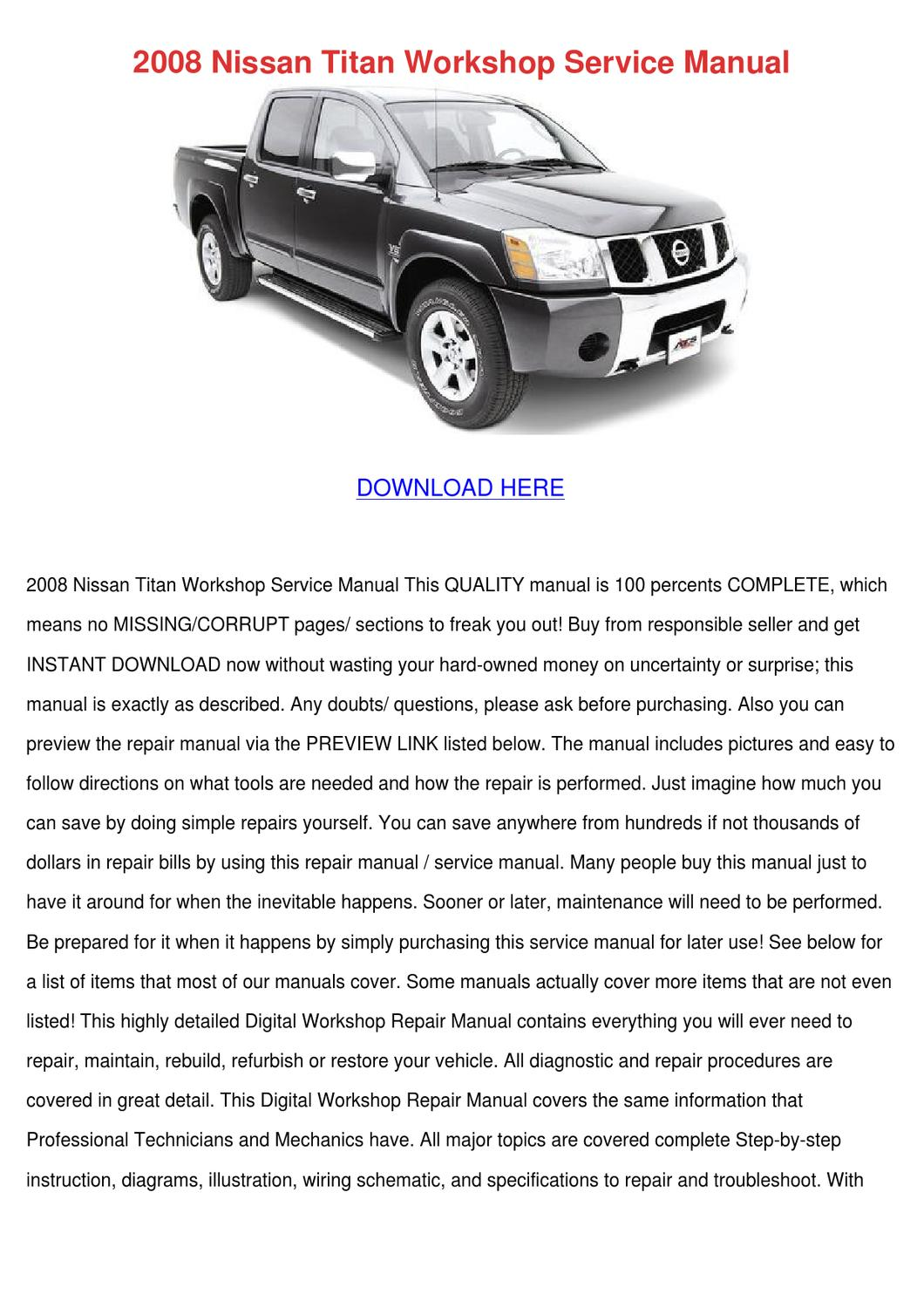 2008 Nissan Titan Workshop Service Manual By Kimheim Issuu 1996 Altima Wiring Diagram Related Keywords Suggestions