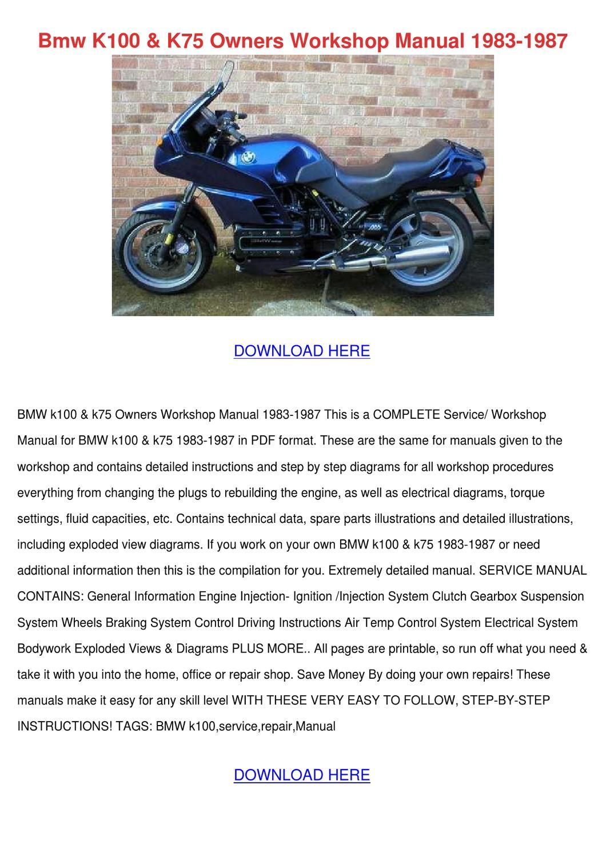 Detalles sobre : Manual de taller para BMW K100 y 75 de 83 a 96