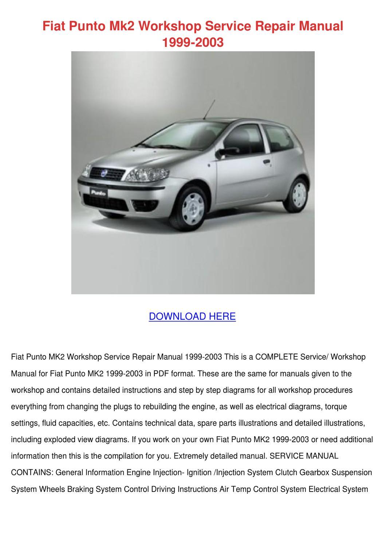 Fiat Punto Mk2 Workshop Service Repair Manual By