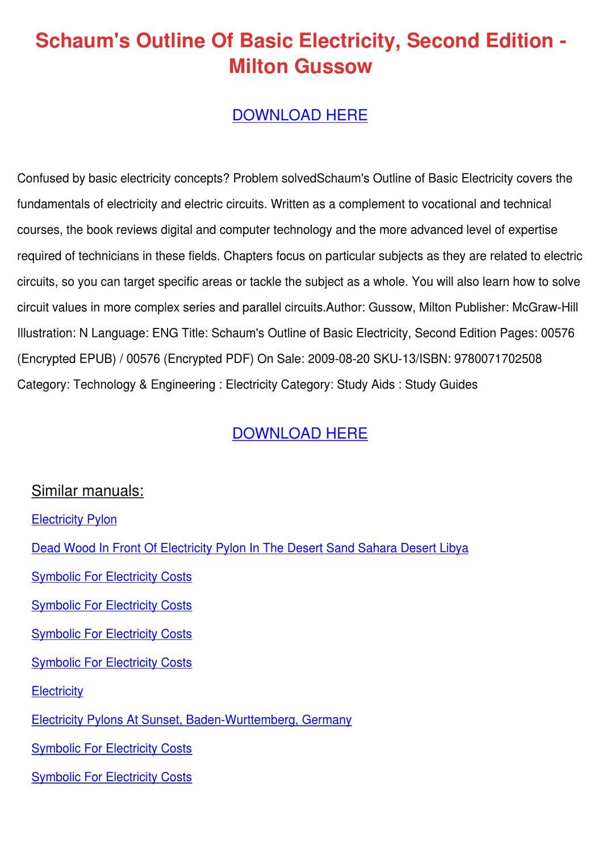 Schaums Outline Of Basic Electricity Second E by MattJenson