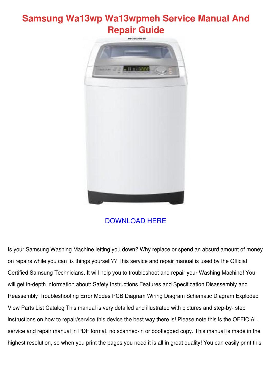 Samsung Wa13wp Wa13wpmeh Service Manual And R By Leokirk Issuu Wiring Diagram Of Washing Machine Pdf