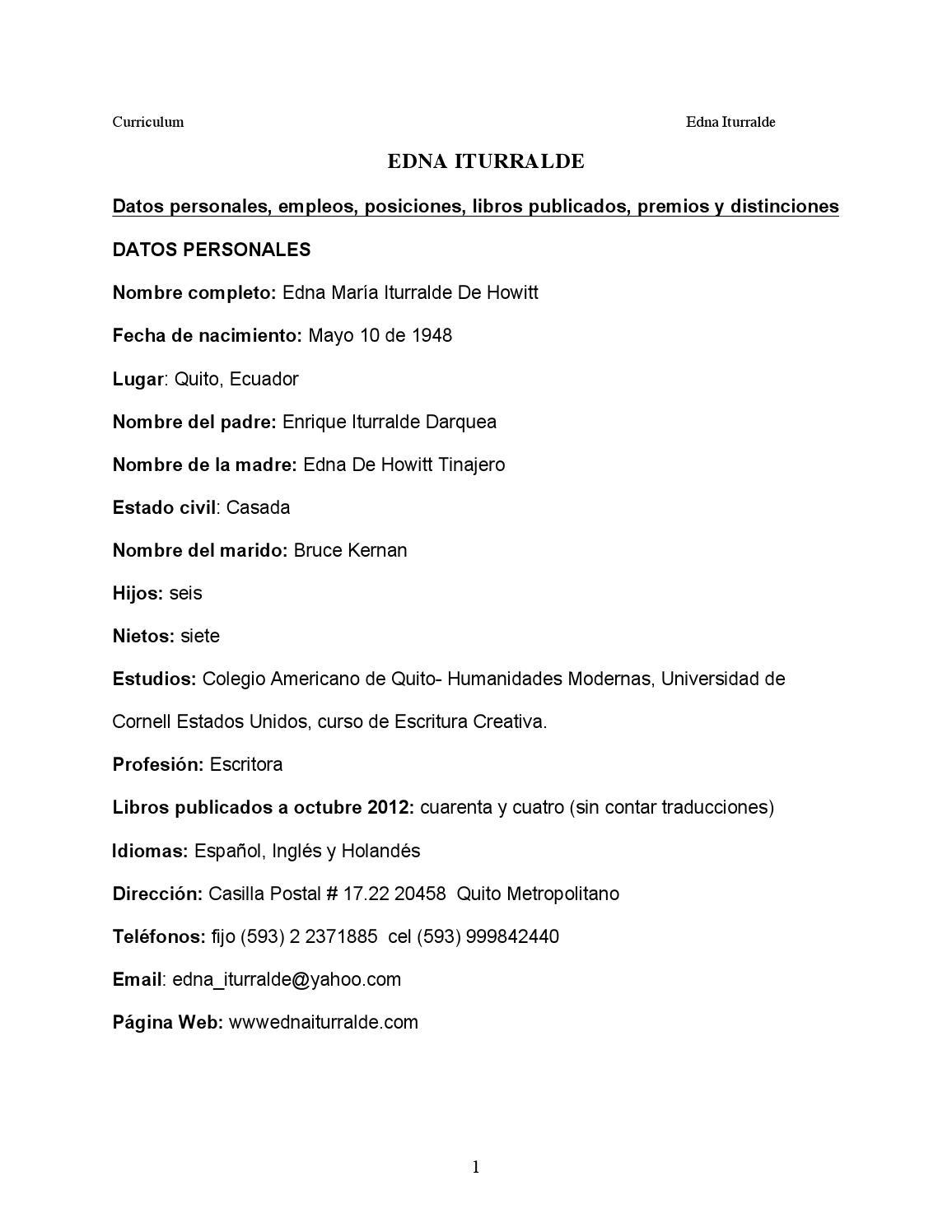Curriculum vitae edna iturralde mayo 2013 by Carolina - issuu