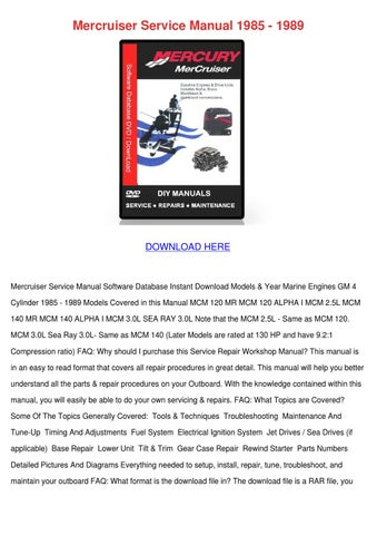 mercruiser service manual 1985 1989 by koreyhughes issuu rh issuu com Mercruiser Manuals PDF Mercruiser Alpha One Outdrive
