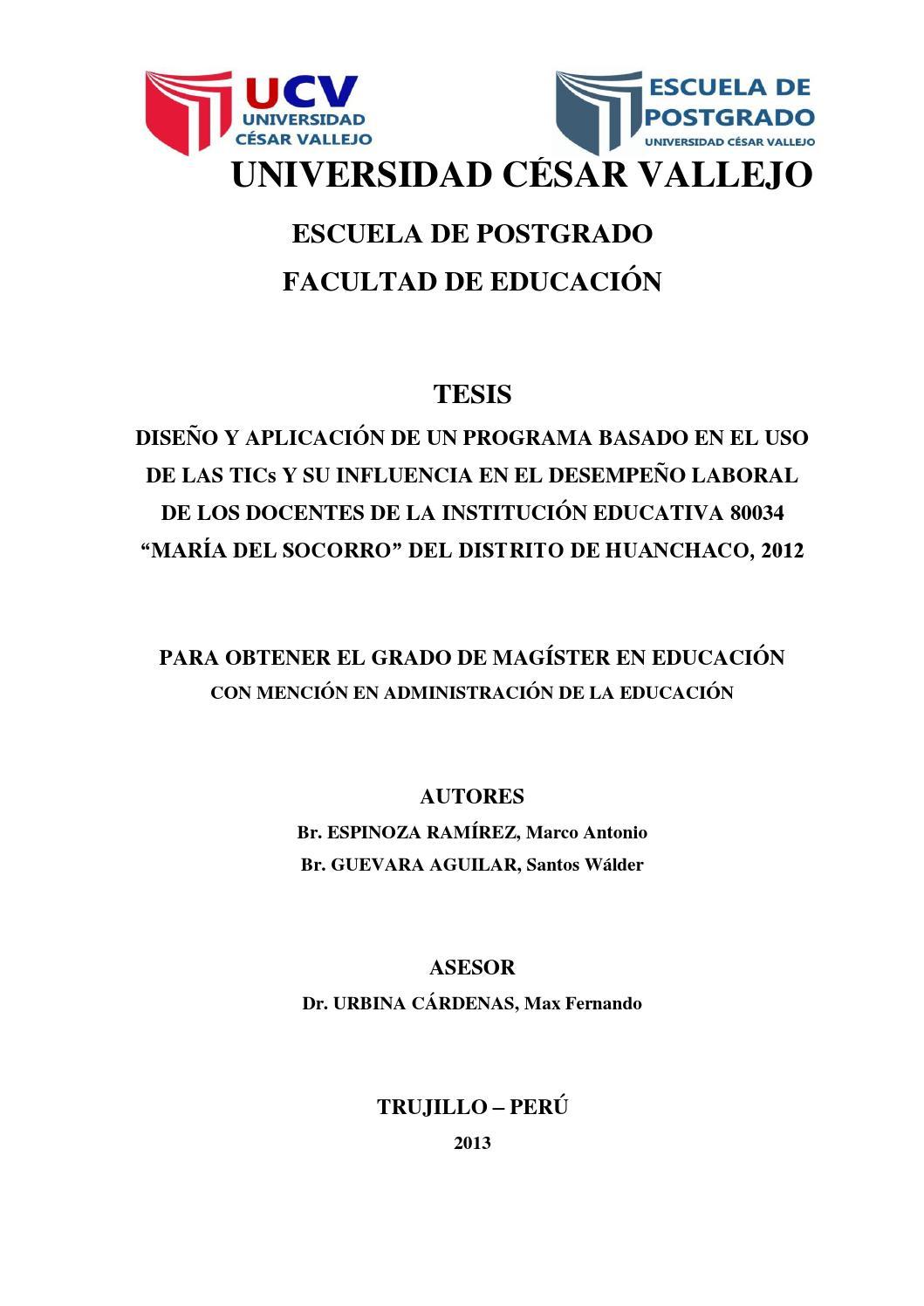 Tesis tics y desempe o laboral docente by marco antonio for Tesis de arquitectura ejemplos