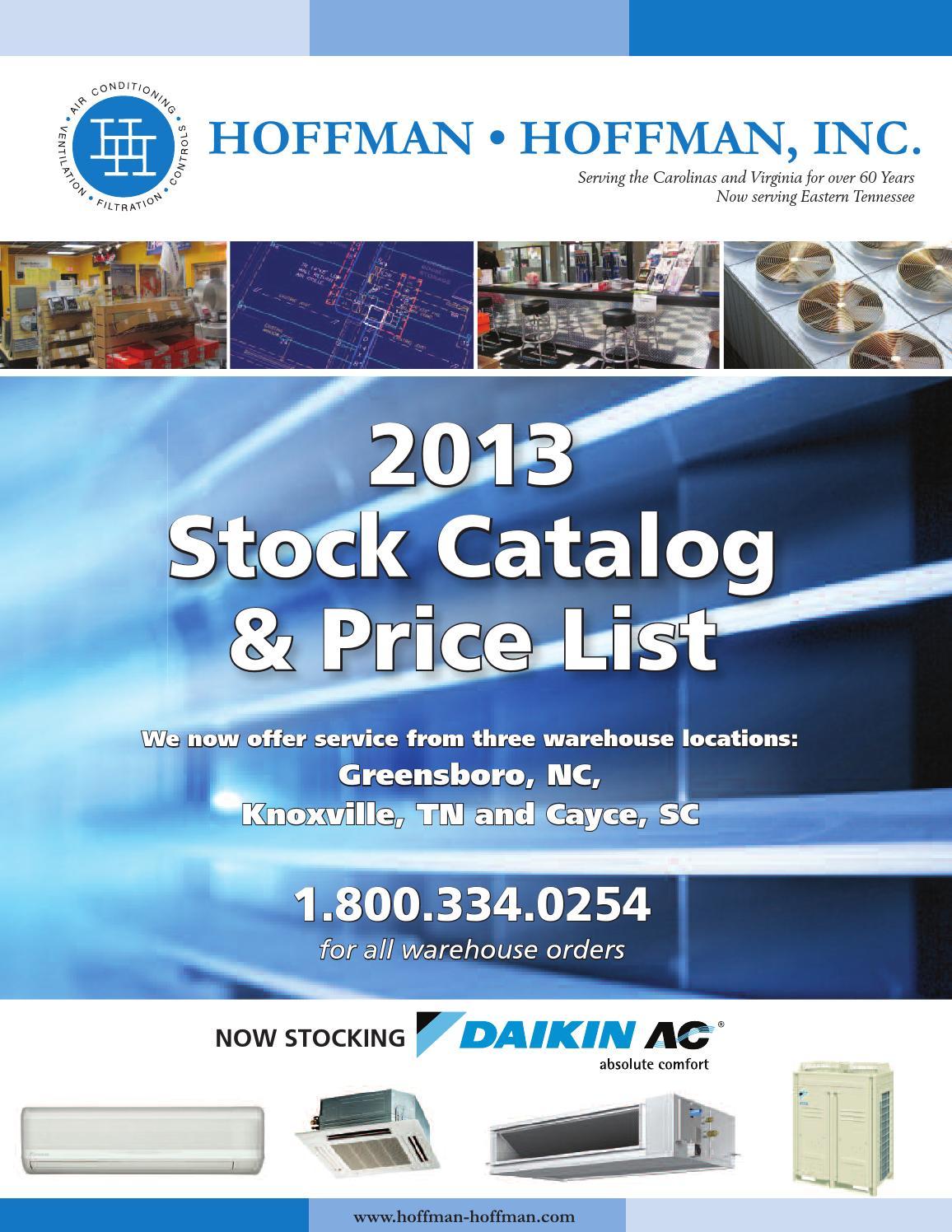 Hoffman-Hoffman 2013 Stock Catalog and Pricelist by Hoffman-Hoffman