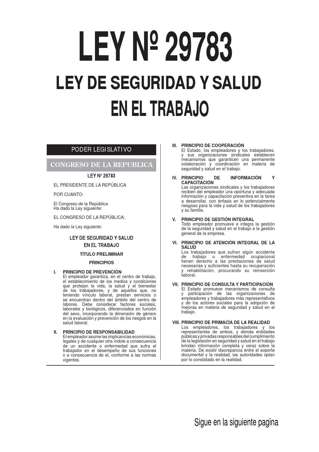 Ley 29783 peru by Jose Valle - issuu