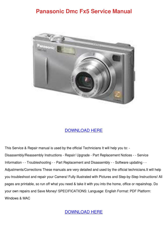 Panasonic Dmc Fx5 Service Manual by FrederickaEgan - issuu