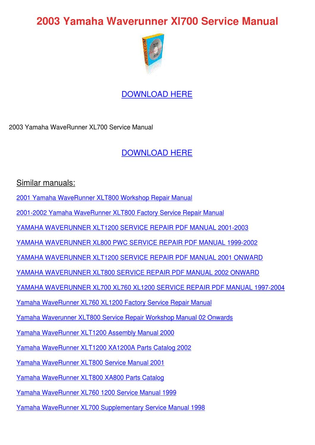 2000 yamaha Xl800 service Manual