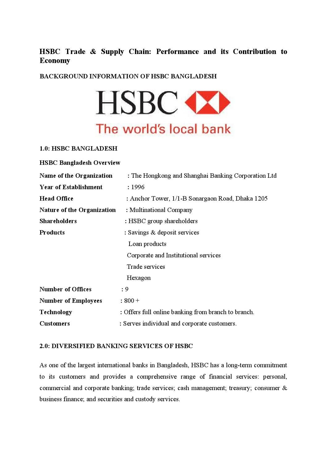 Hsbc performance and its contribution to economy by Md Papon