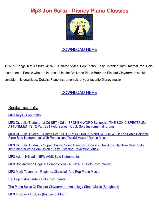 Mp3 Jon Sarta Disney Piano Classics by GenevieveDove - issuu