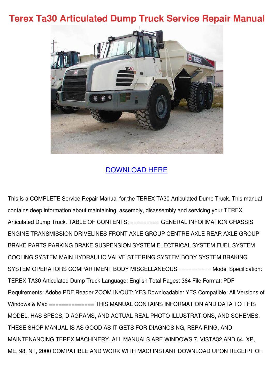 Terex Ta30 Articulated Dump Truck Service Rep by GeoffreyDaniels ...