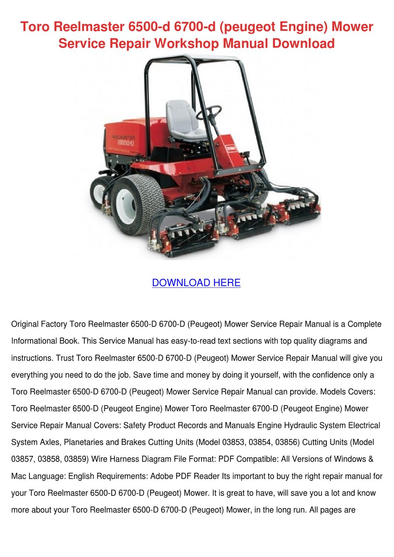 Toro Reelmaster 6500 D 6700 D Peugeot Engine By