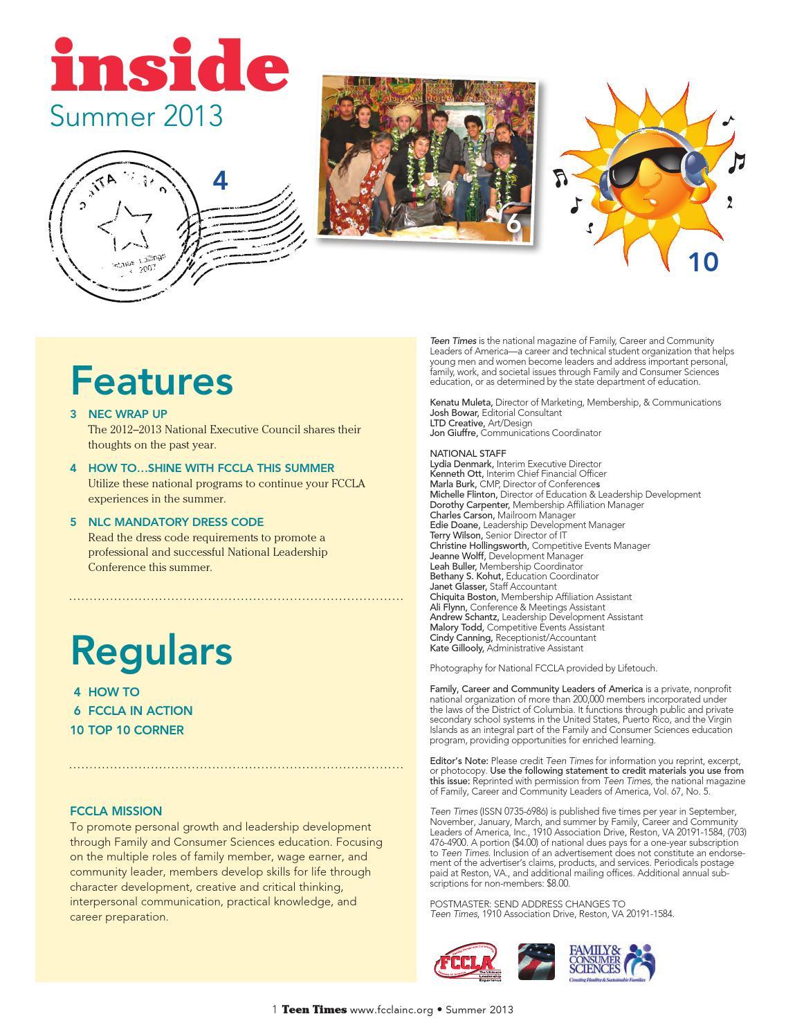 Teen Times Summer 2013 by FCCLA - issuu