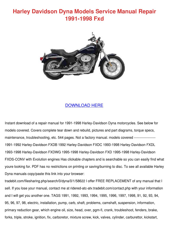 Harley Davidson Dyna Models Service Manual Re by