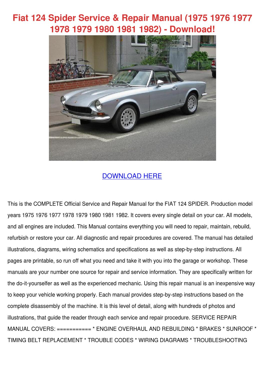 Fiat 124 Spider Service Repair Manual 1975 19 By Sylviascroggins Issuu Kobelco Loader Wiring Diagram