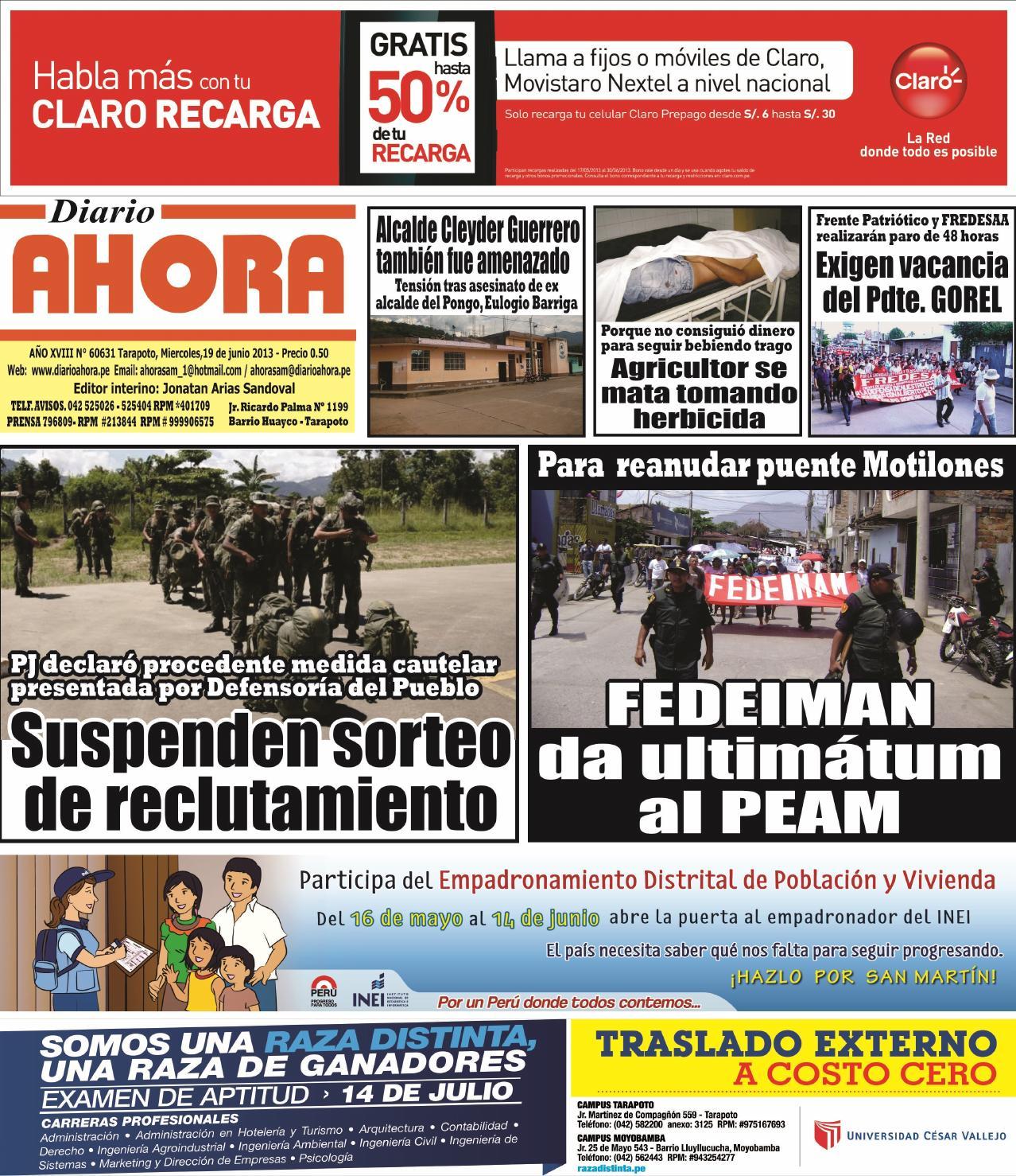 19 06 13 diario ahora tarapoto by Jonatan Arias - issuu