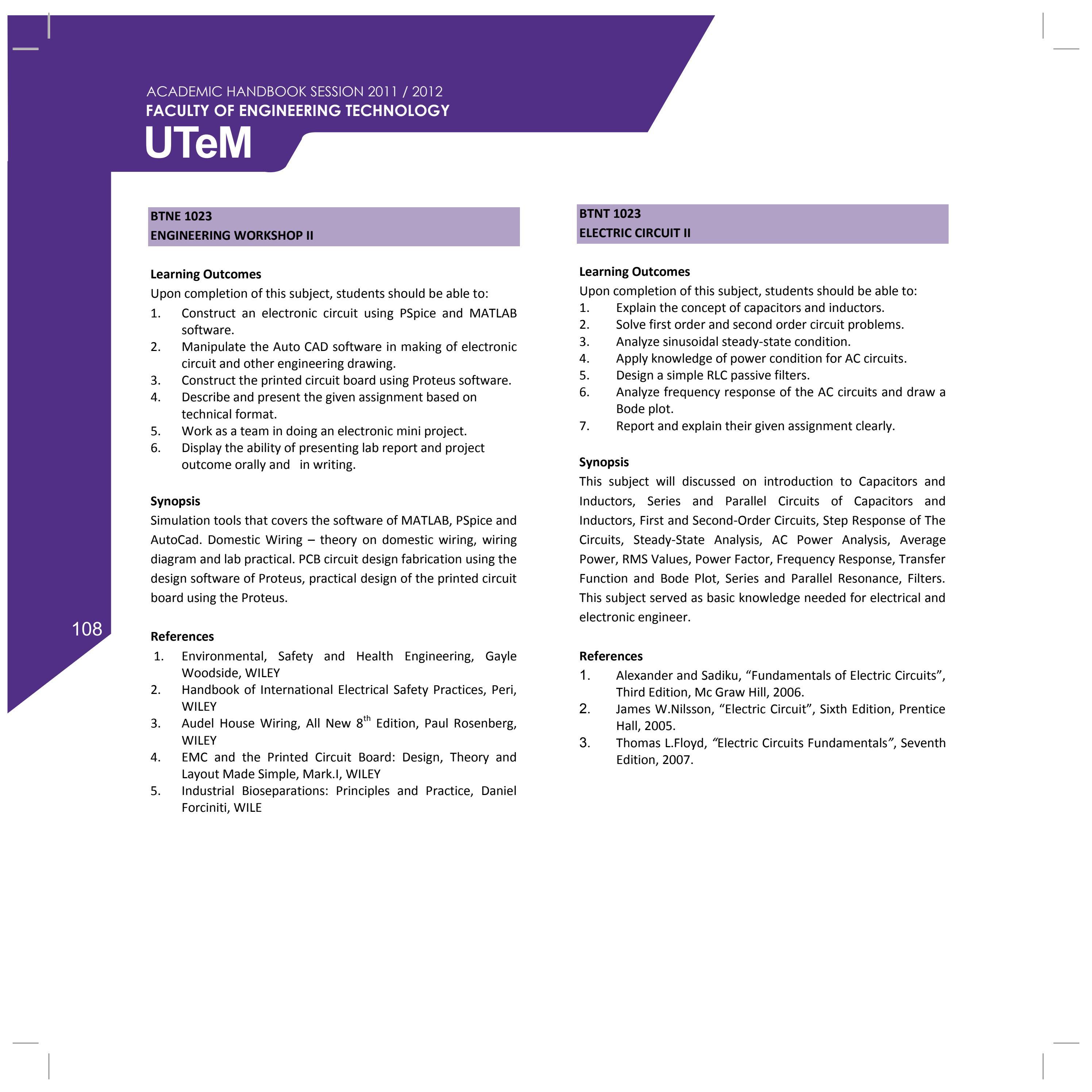 Fakulti Teknologi Kejuruteraan Academic Handbook 20112012 By Sulaiman Sabikan Issuu