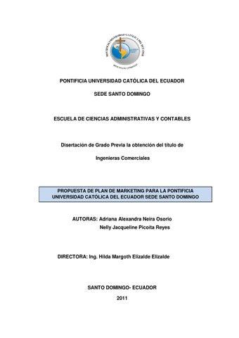Propuesta de plan de marketing para la PUCE SD by Pontificia ...