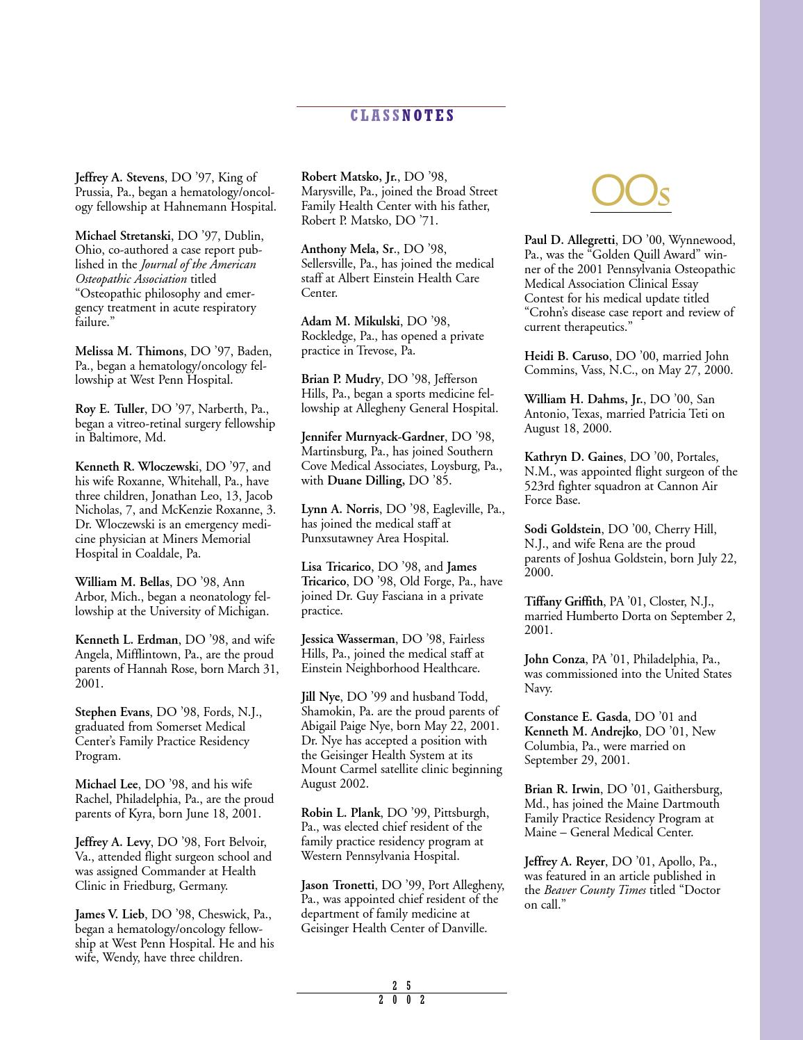 2002 digest no1 by Philadelphia College of Osteopathic