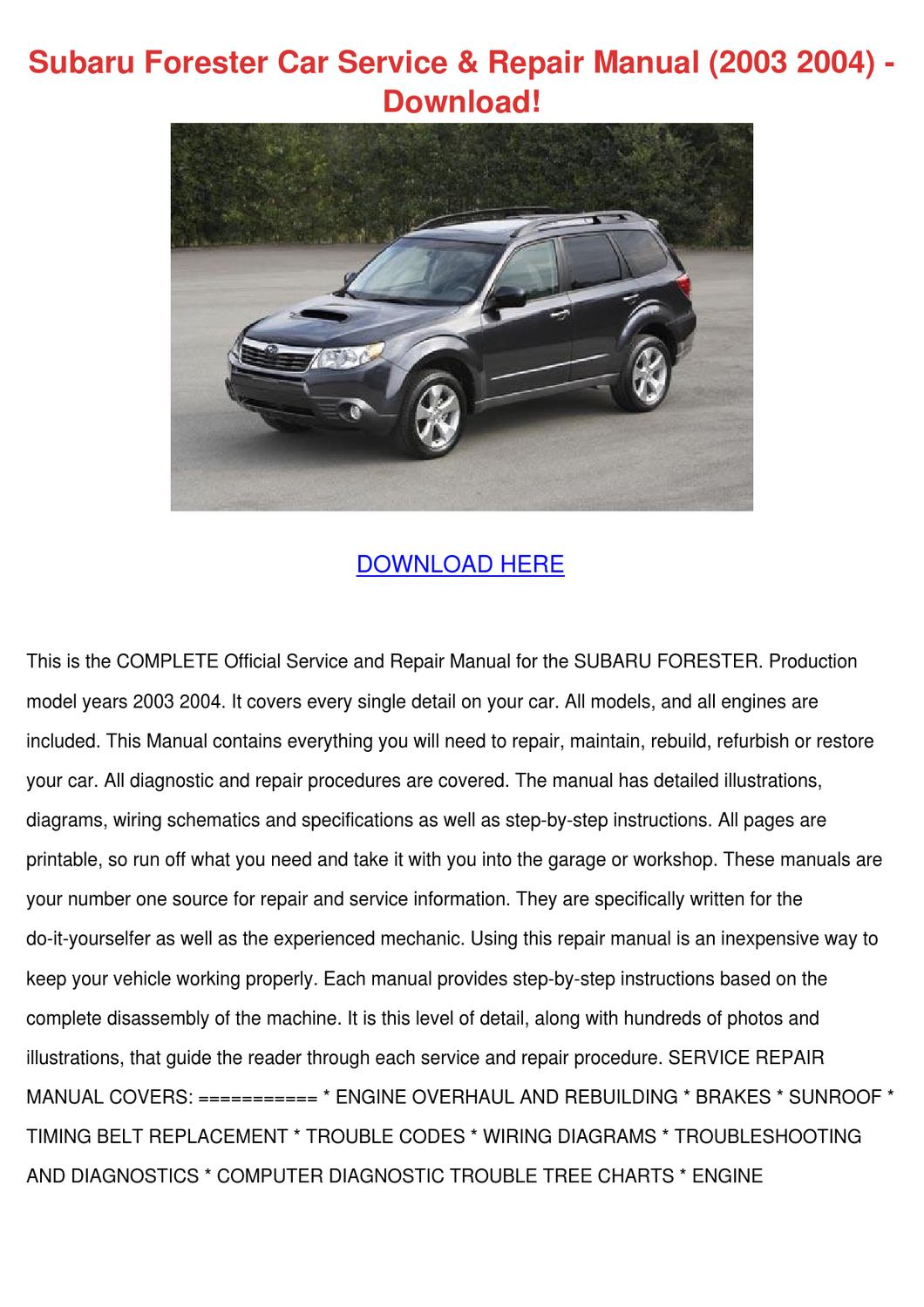Subaru Forester Car Service Repair Manual 200 By Lucretiajanssen Issuu Ea82 Engine Diagram