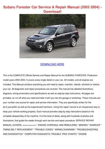 Subaru Forester Car Service Repair Manual 200 by LucretiaJanssen ...
