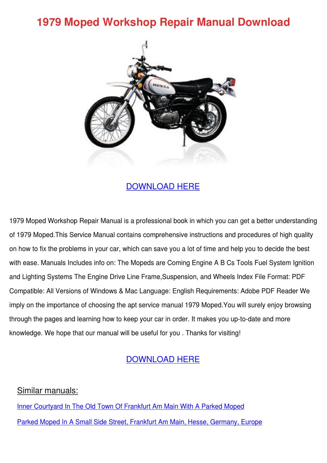 1979 Moped Workshop Repair Manual Download by NellMosher - issuu