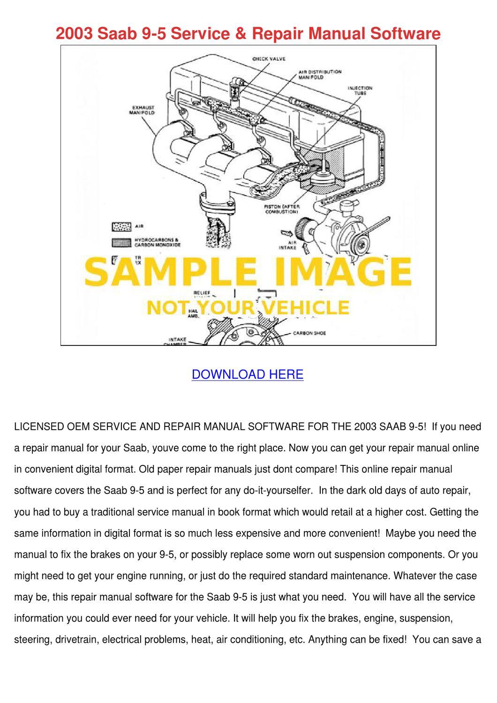 2003 Saab 9 5 Service Repair Manual Software by