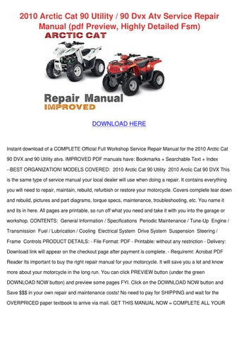 2007 arctic cat dvx 90 utility 90 youth service repair manual y 12 highly detailed fsm pdf