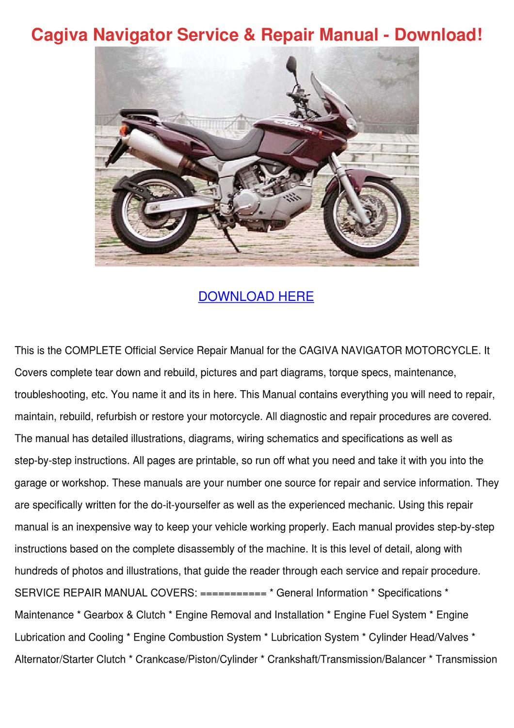 Cagiva Navigator Service Repair Manual Downlo by JefferyGoodrich issuu
