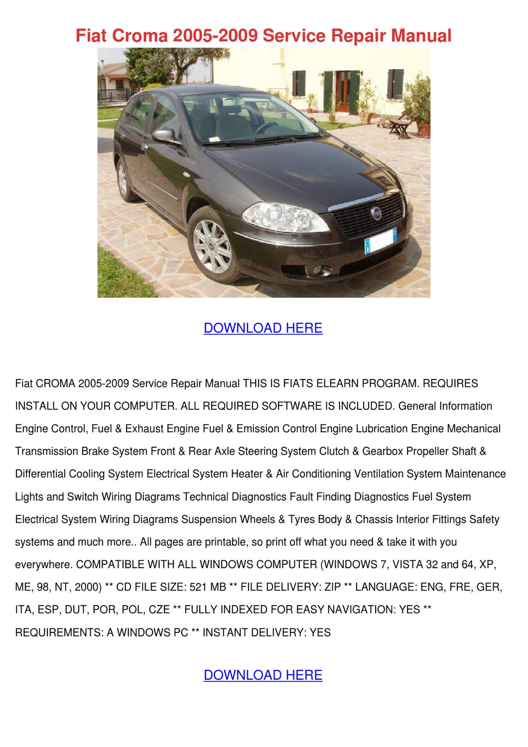 Fiat Croma 2005 2009 Service Repair Manual By Kaihawley