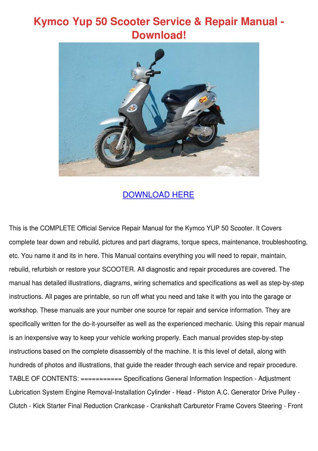 Kymco Yup 50 Scooter Service Repair Manual Do By Kaihawley