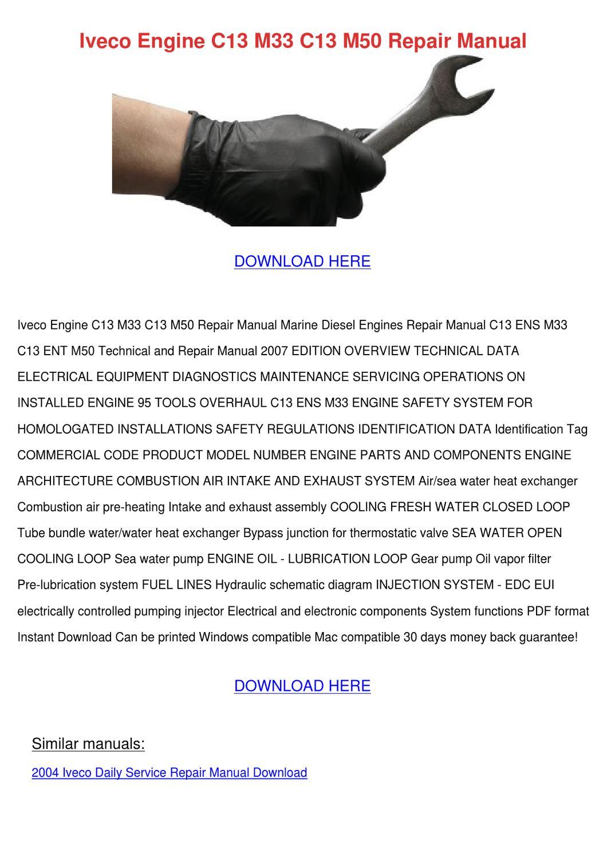 Iveco Engine C13 M33 M50 Repair Manual By Nicolasmoriarty Issuu Diesel Diagram Marine Engines Parts Fuel