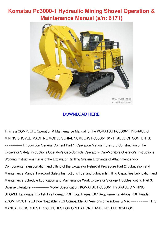 Komatsu Pc3000 1 Hydraulic Mining Shovel Oper by