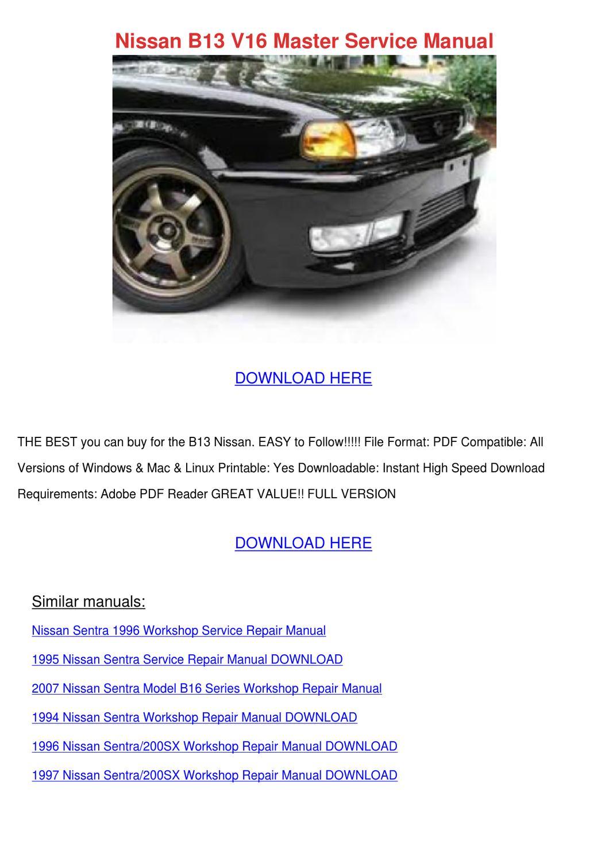 1994 Nissan Sentra 200sx Service Repair Manual Model B13 Series Archives Midweek Com