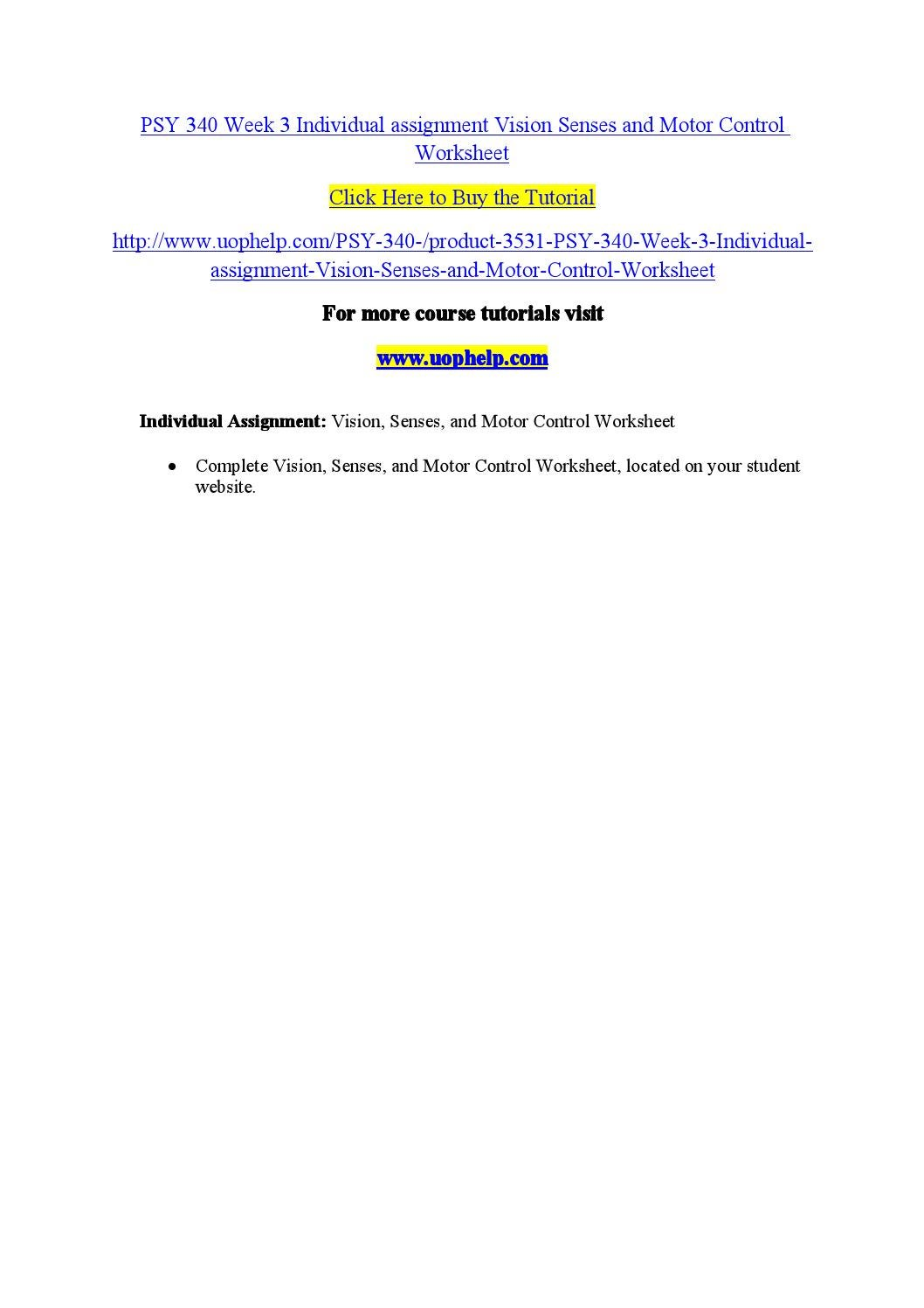 vision senses and motor control worksheet psy 340
